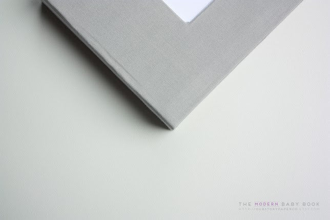 Solid Gray Modern Baby Book