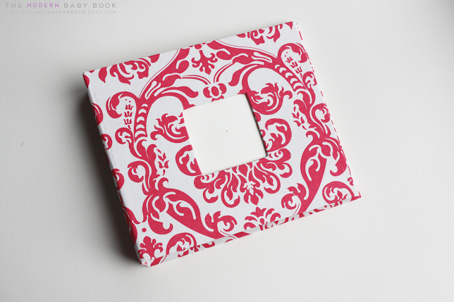 Candy Pink Damask Modern Baby Book - Our Story Paper Co.