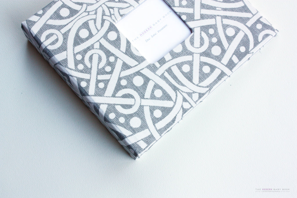 Gray Galaxy Modern Baby Book - Our Story Paper Co.