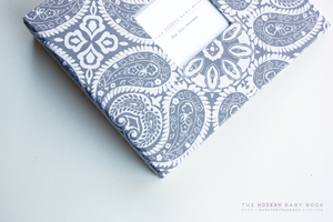 Purple Gray Tibi Modern Baby Book - Our Story Paper Co.
