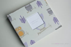 Lavender Hooty Owl Modern Baby Book - Our Story Paper Co.