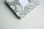 Gray Floral Damask Modern Baby Book - Our Story Paper Co.