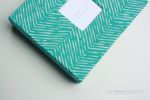 Aqua Teal Zebra Lines Modern Baby Book - Our Story Paper Co.