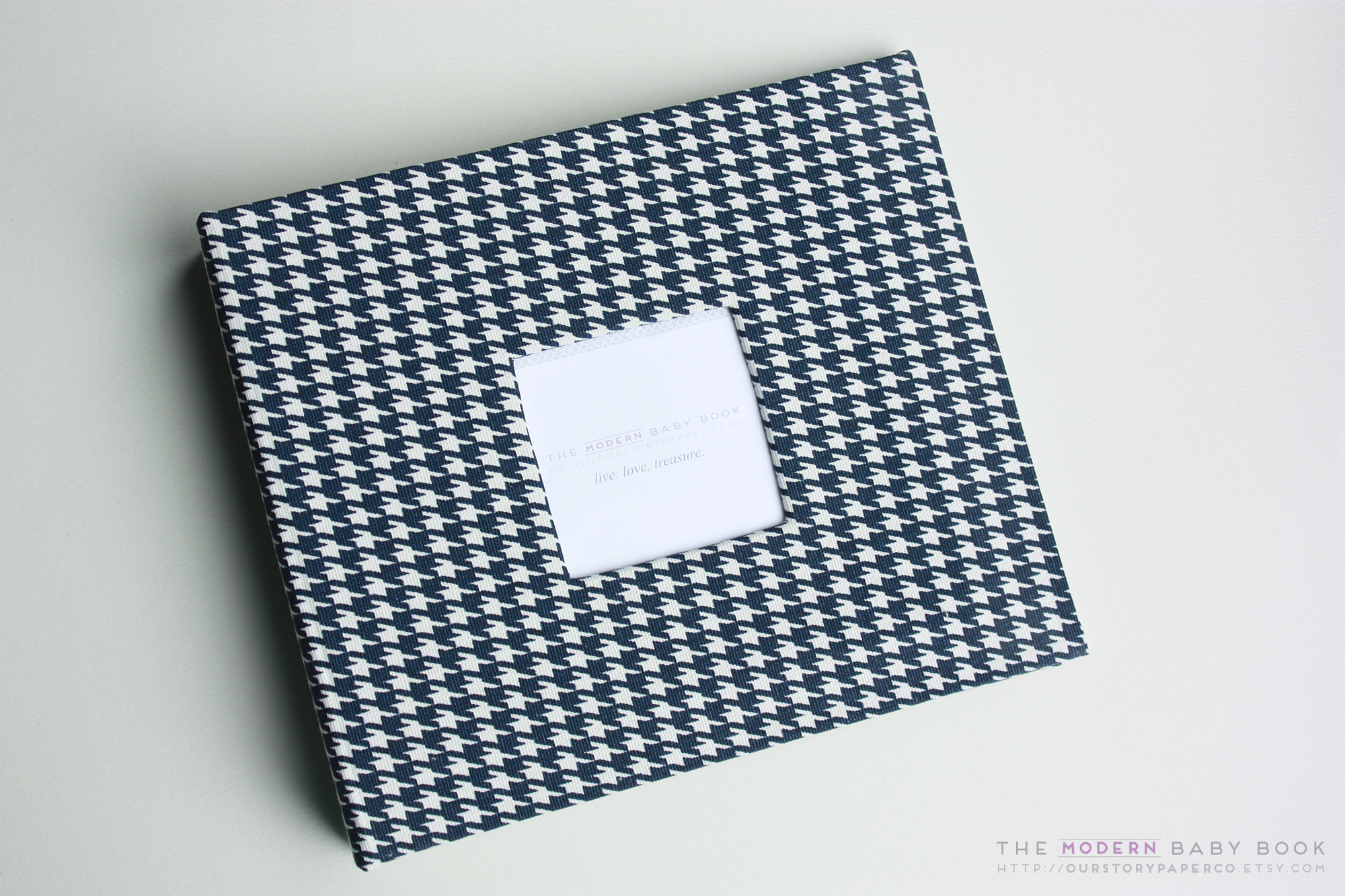 Navy Houndstooth Modern Baby Book - Our Story Paper Co.