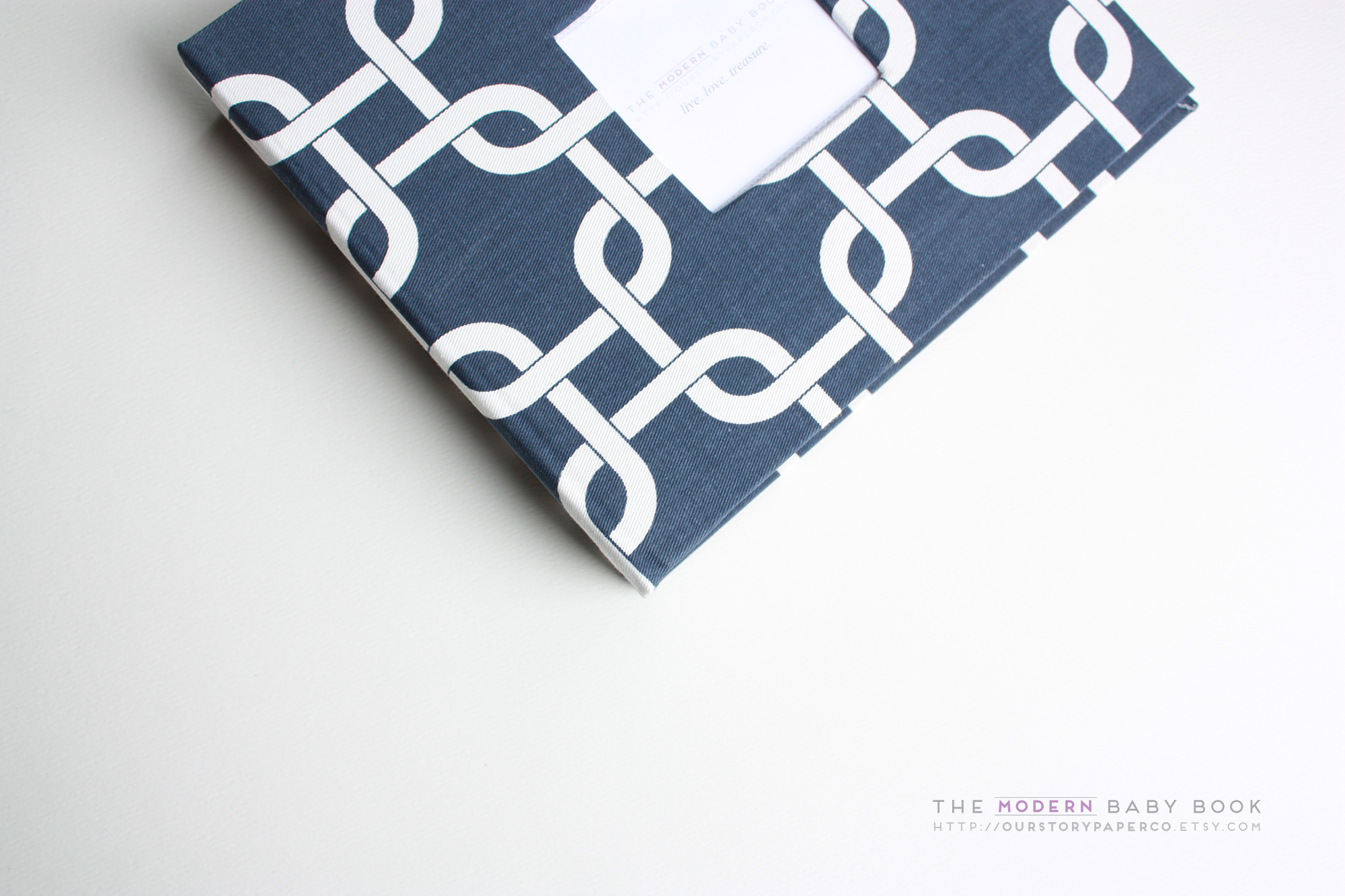 Navy Chainlink Modern Baby Book - Our Story Paper Co.