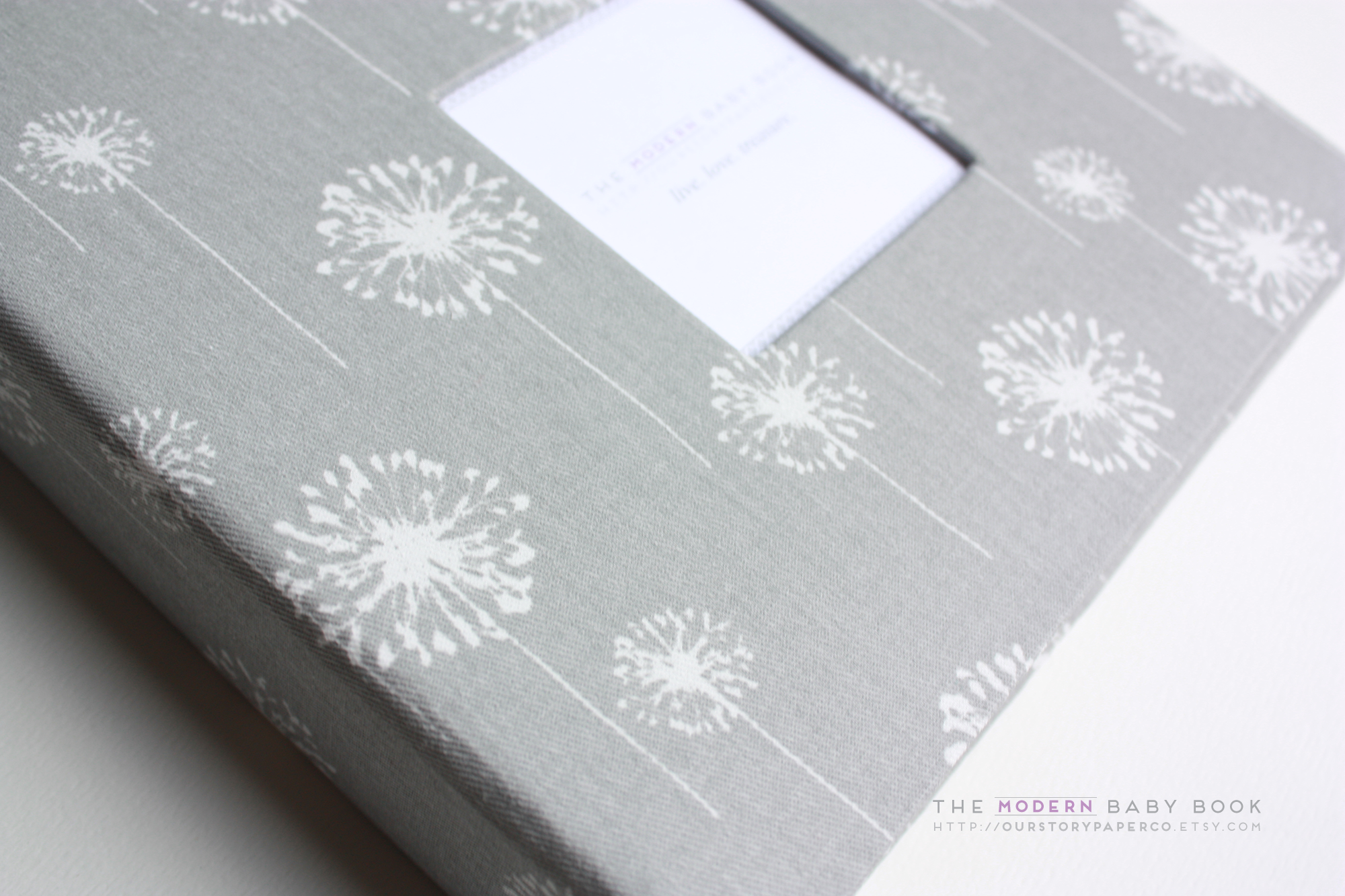 Gray Dandelion Modern Baby Book - Our Story Paper Co.