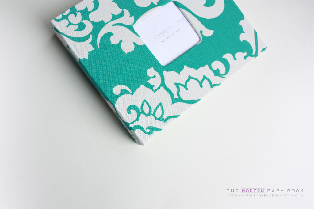 Aqua Teal Floral Damask Modern Baby Book - Our Story Paper Co.