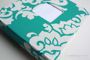 Teal Berlin Swirls Modern Baby Book - Our Story Paper Co.