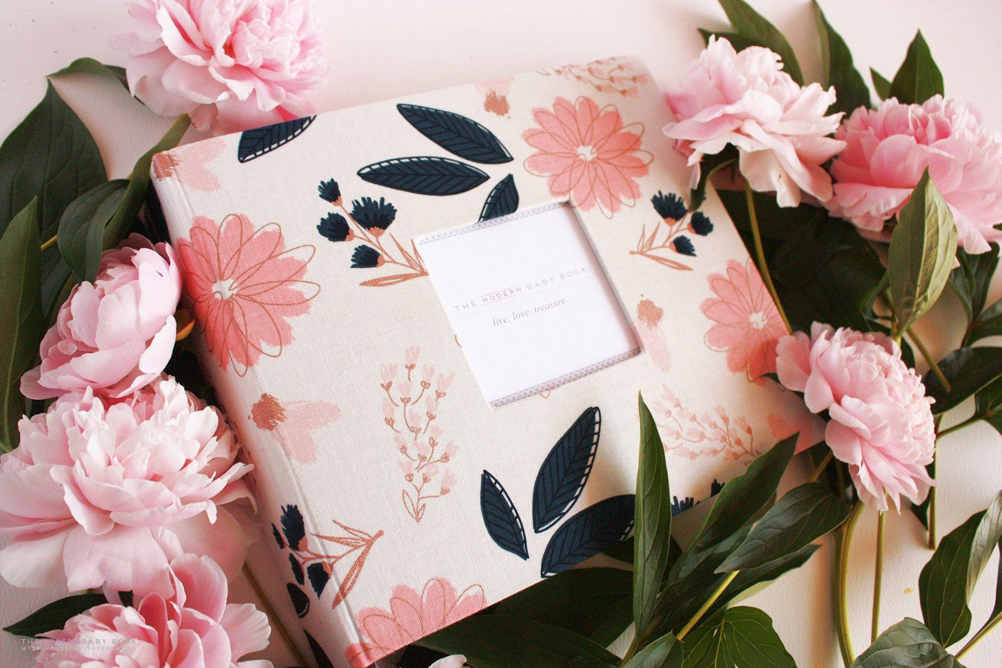 Sparkle Cream Floral Rose Gold Modern Baby Book
