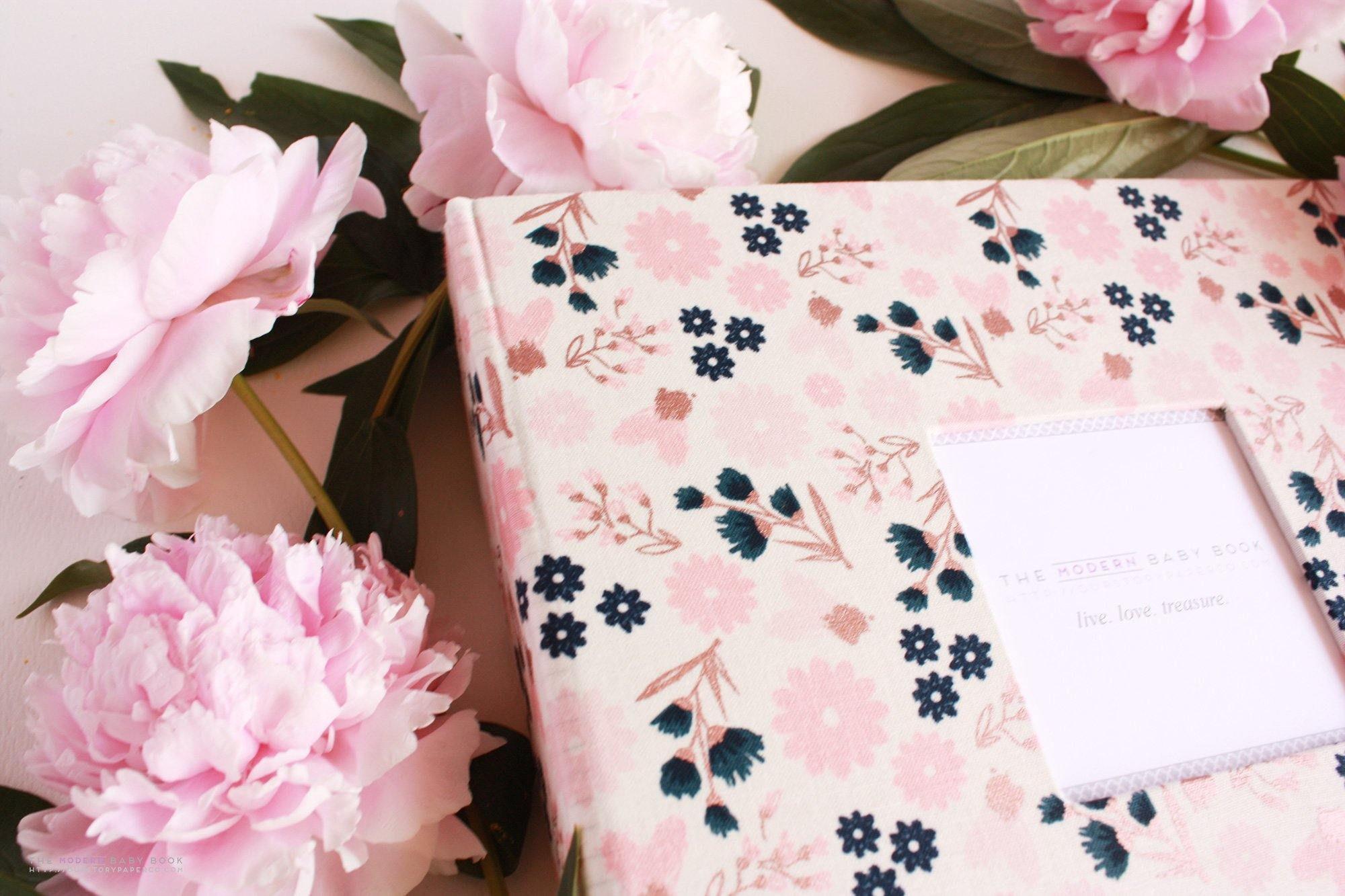 Sparkle Cream Rose Bunch Rose Gold Modern Baby Book - Our Story Paper Co.