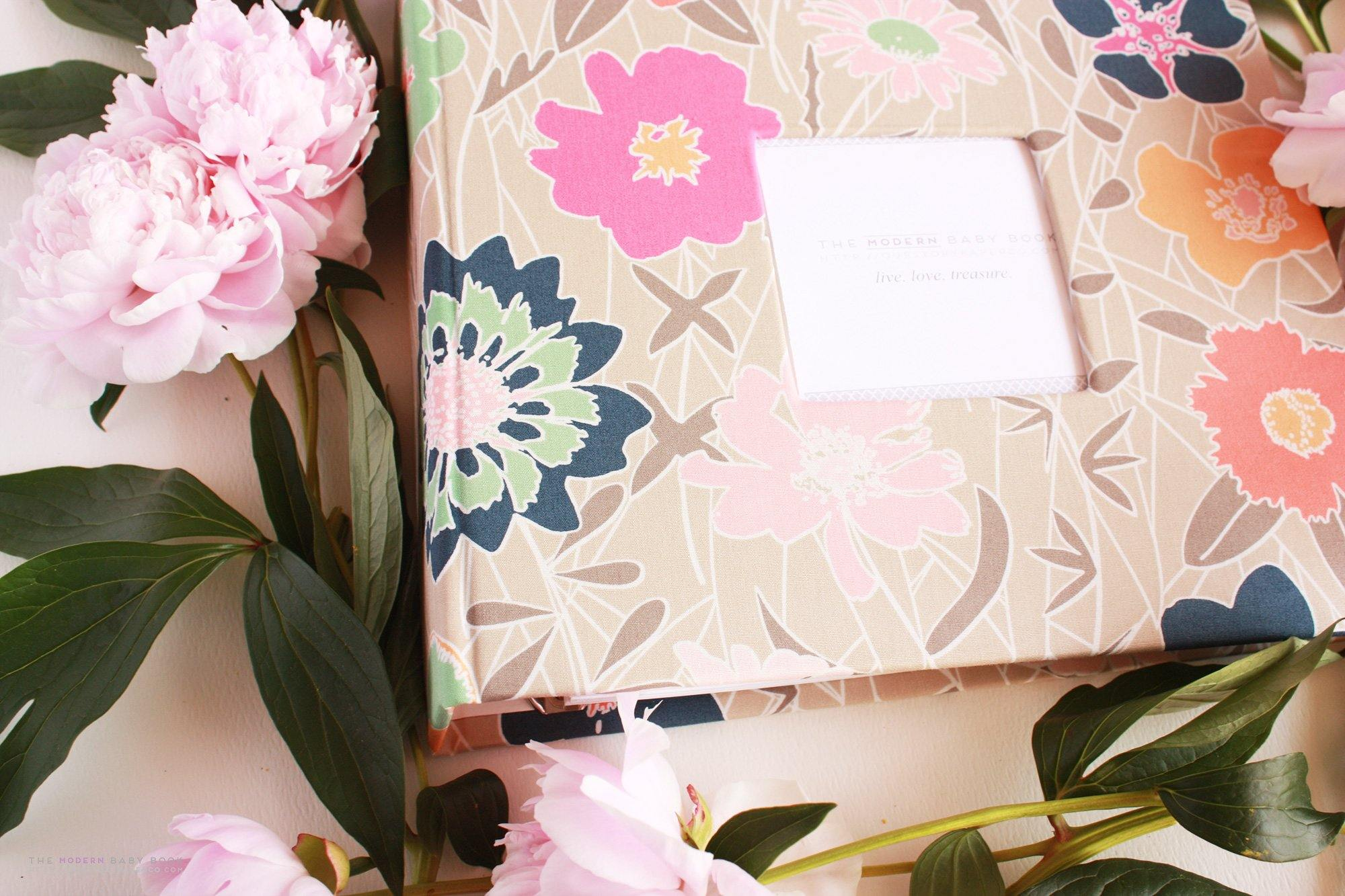 Blush and Coral Blossom Florals Modern Baby Book - Our Story Paper Co.