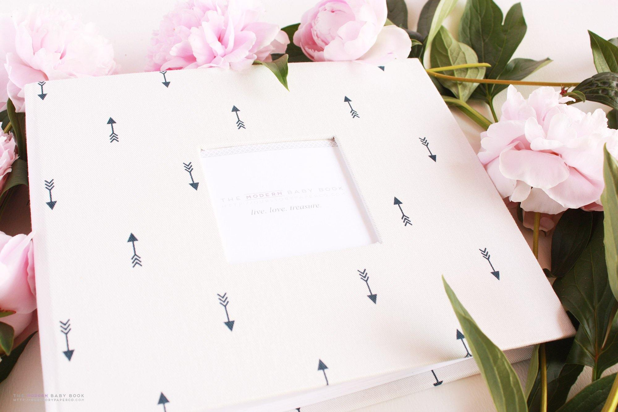 Mini Navy Anchors Modern Baby Book - Our Story Paper Co.