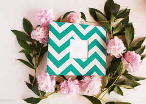 Turquoise Chevron Keepsake Album - Our Story Paper Co.
