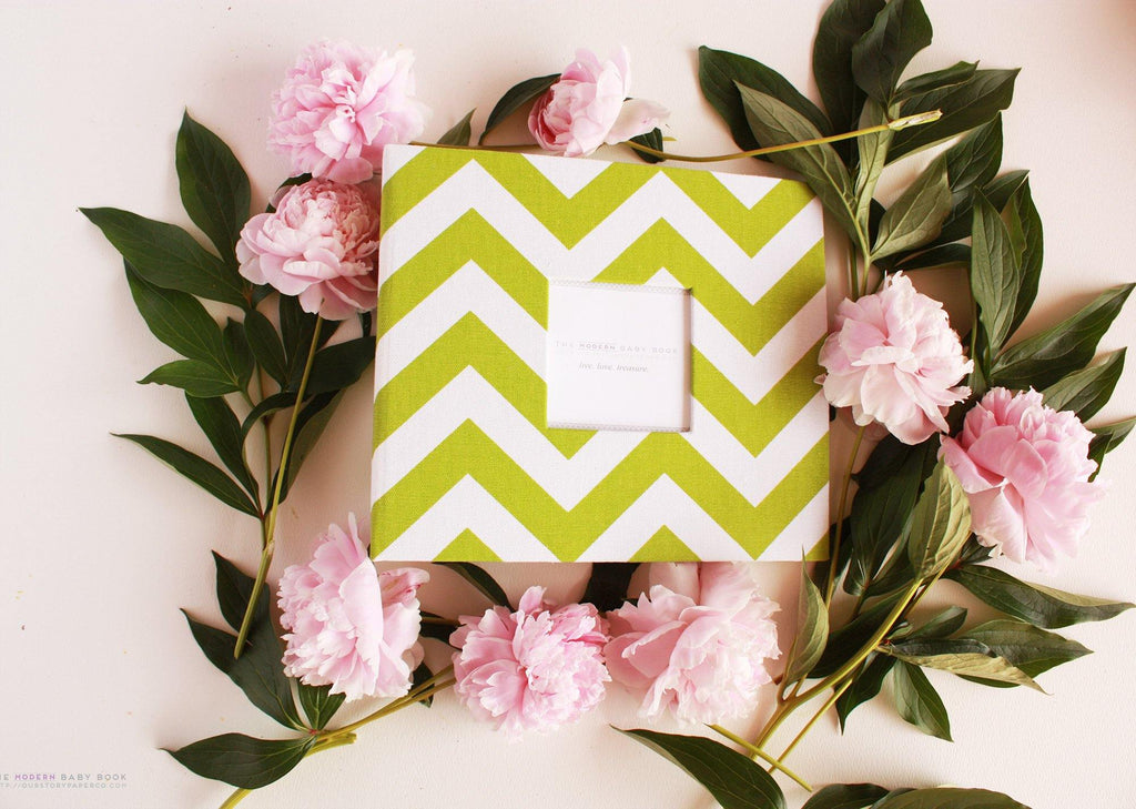 Mustard Green Chevron Modern Baby Book - Our Story Paper Co.