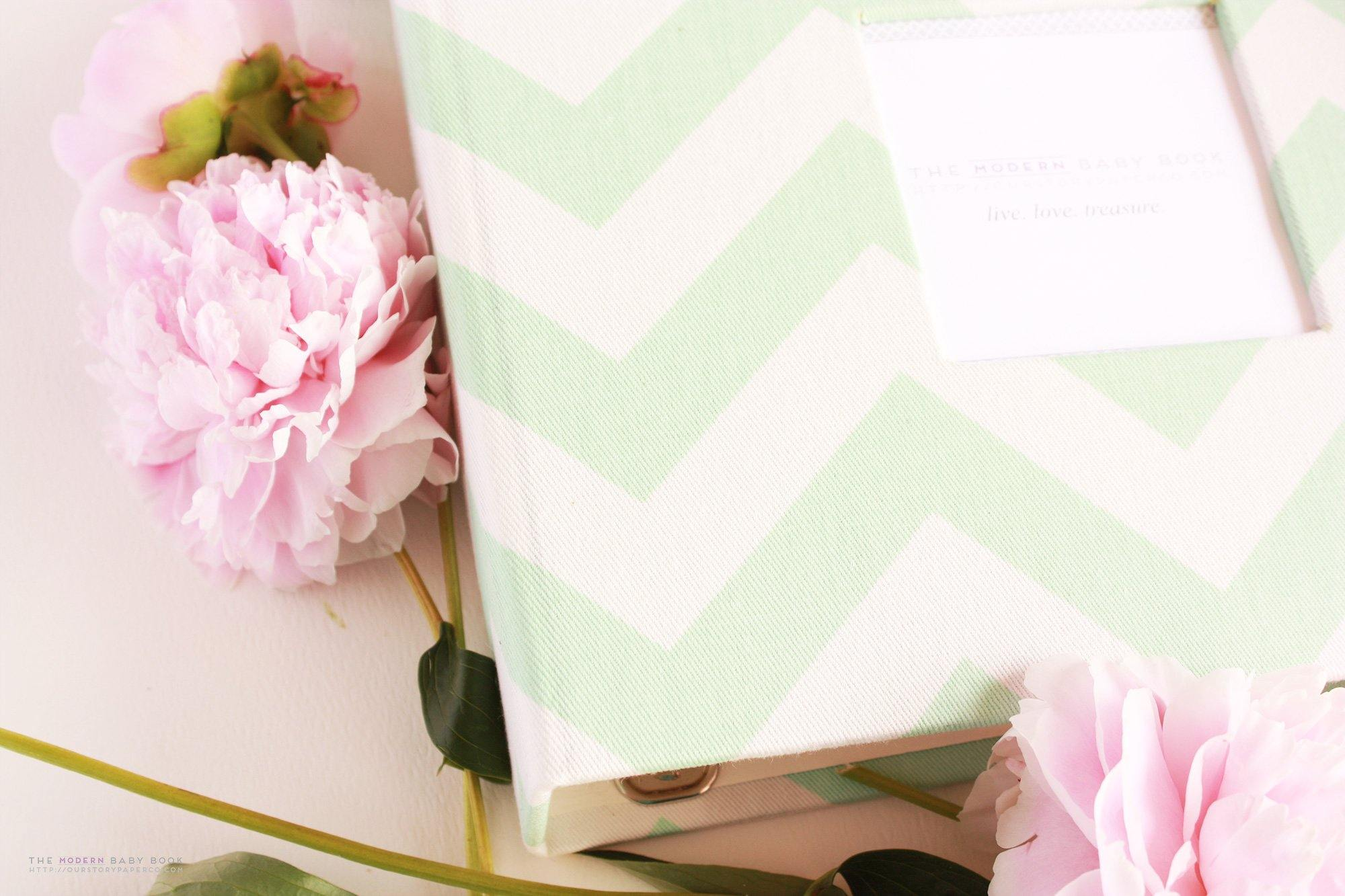 Mint Green Chevron Modern Baby Book - Our Story Paper Co.