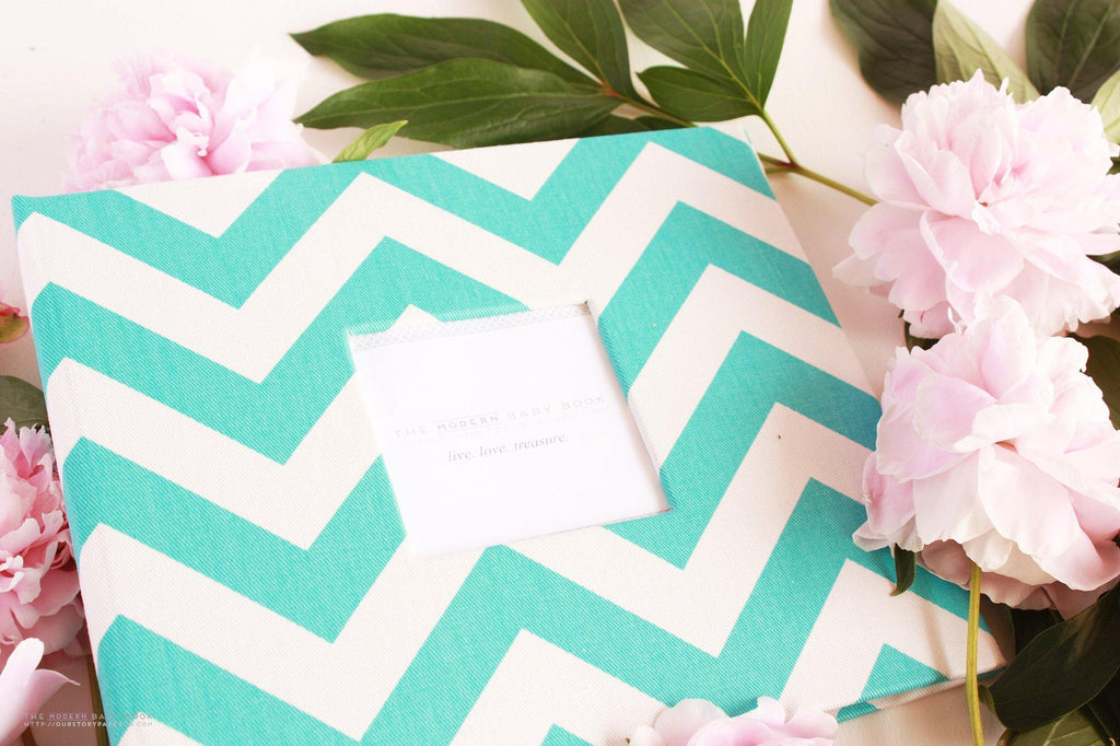 Aqua Blue Chevron Modern Baby Book - Our Story Paper Co.