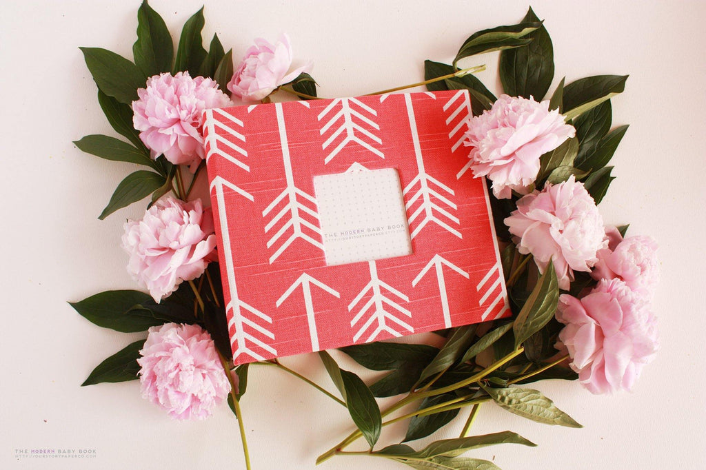 Coral Arrow Modern Baby Book - Our Story Paper Co.
