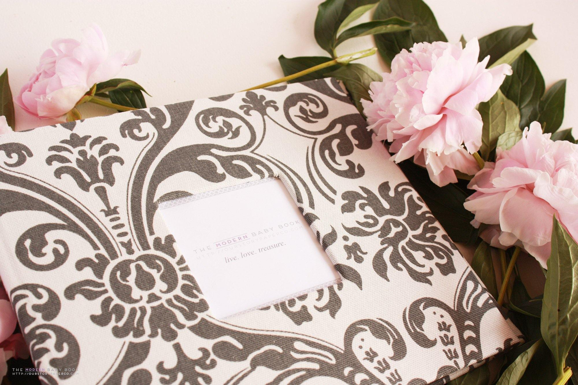 Charcoal Damask Modern Baby Book - Our Story Paper Co.
