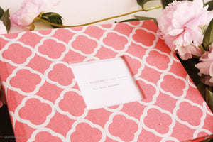 Coral Lattice Modern Baby Book - Our Story Paper Co.