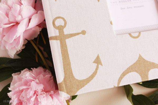 Gold Anchors Modern Baby Book - Our Story Paper Co.