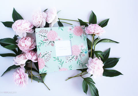 Mint Peonies Modern Baby Book - Our Story Paper Co.