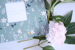 Grey Floral Blossom Modern Baby Book - Our Story Paper Co.