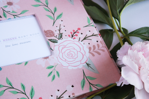 Pink Peonies Modern Baby Book - Our Story Paper Co.