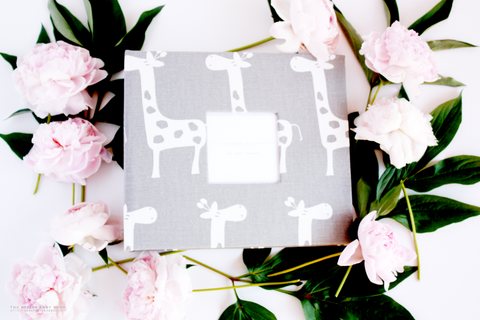Grey Giraffe Modern Baby Book - Our Story Paper Co.