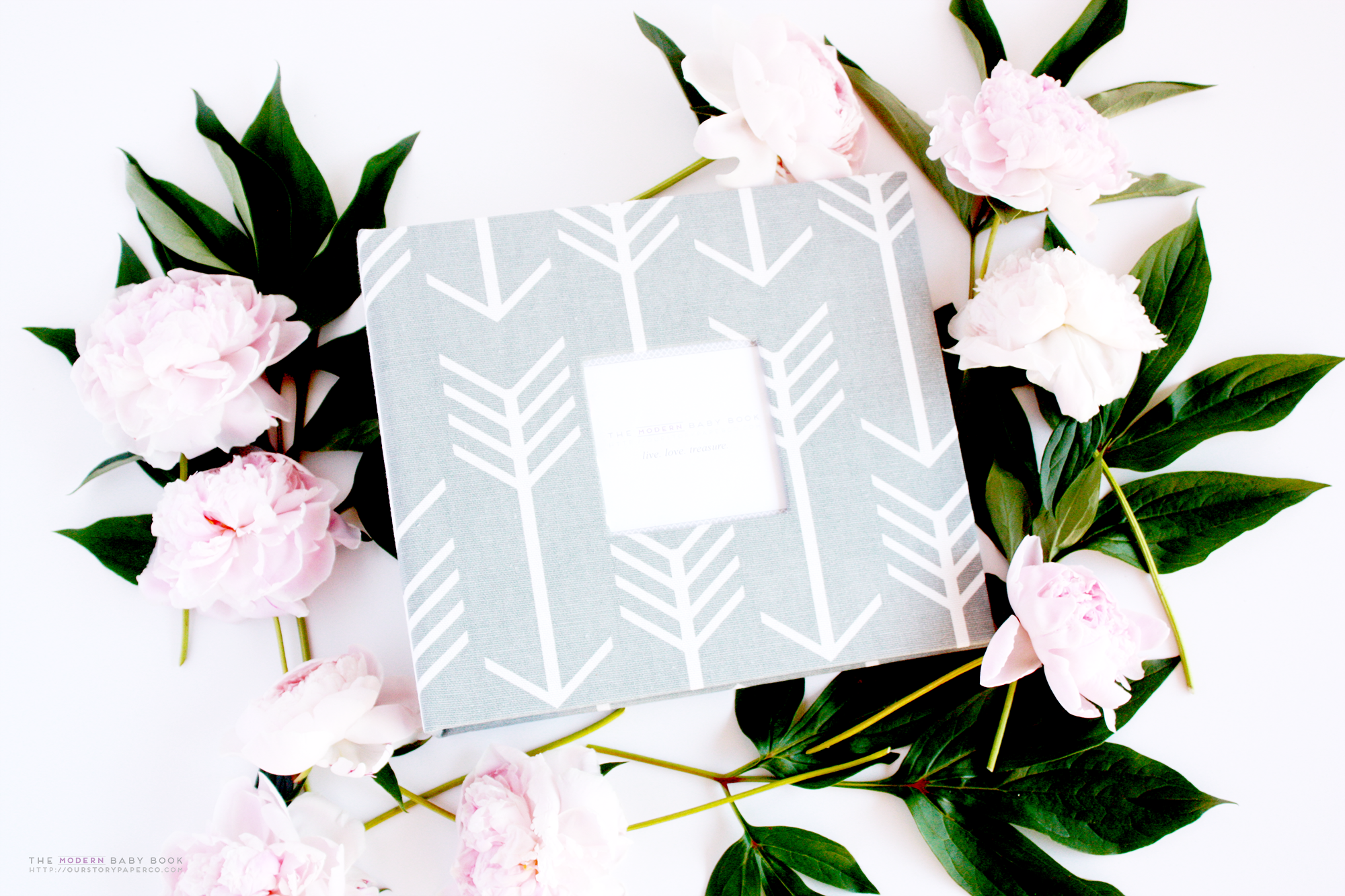 Grey Arrow Modern Baby Book - Our Story Paper Co.