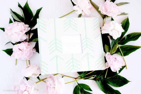 Mint Arrow on White Album - Our Story Paper Co.