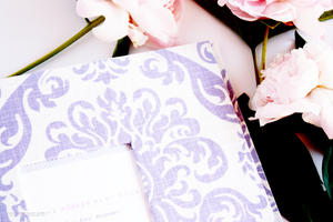 Lavender Damask Modern Baby Book - Our Story Paper Co.