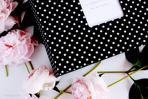 Black Pin Dot Modern Baby Book - Our Story Paper Co.