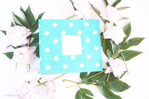 Aqua Blue Polka Dot Album - Our Story Paper Co.