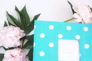 Aqua Blue Polka Dot Keepsake Album - Our Story Paper Co.