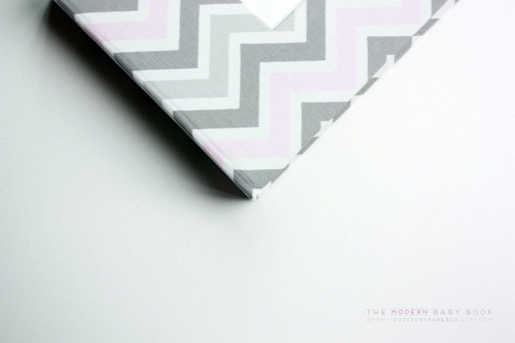 Baby Pink and Gray Chevron Modern Baby Book