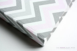 Baby Pink and Gray Chevron Modern Baby Book - Our Story Paper Co.
