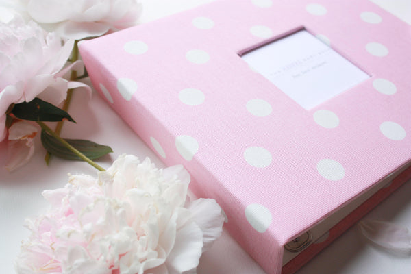 Baby Pink Polka Dot Modern Baby Book - Our Story Paper Co.