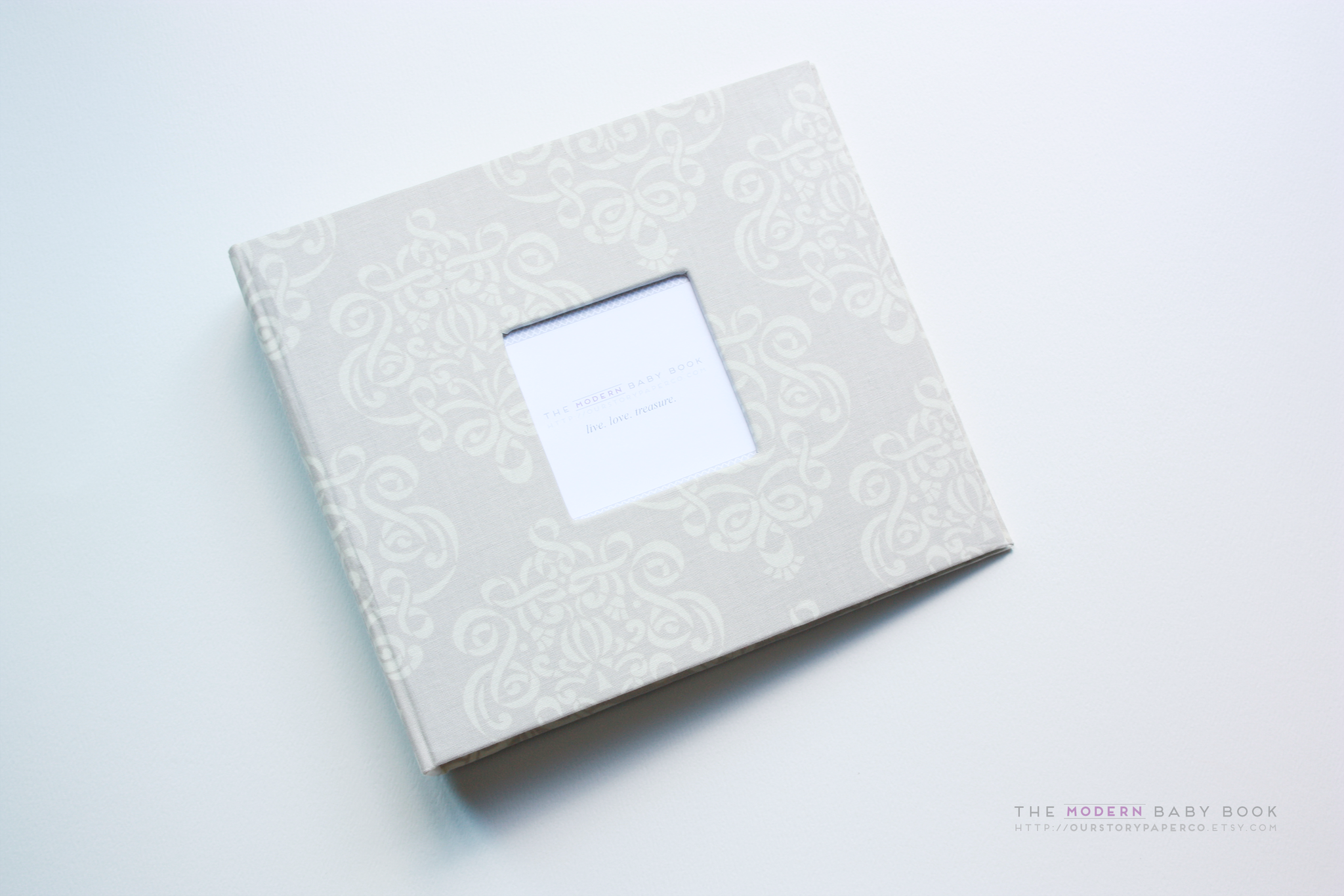Natural Beige Swirls Modern Baby Book - Our Story Paper Co.