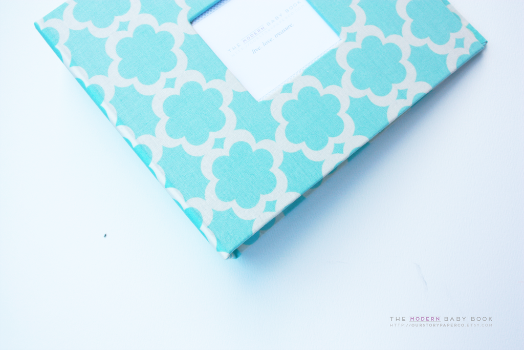 Blue Lattice Modern Baby Book - Our Story Paper Co.