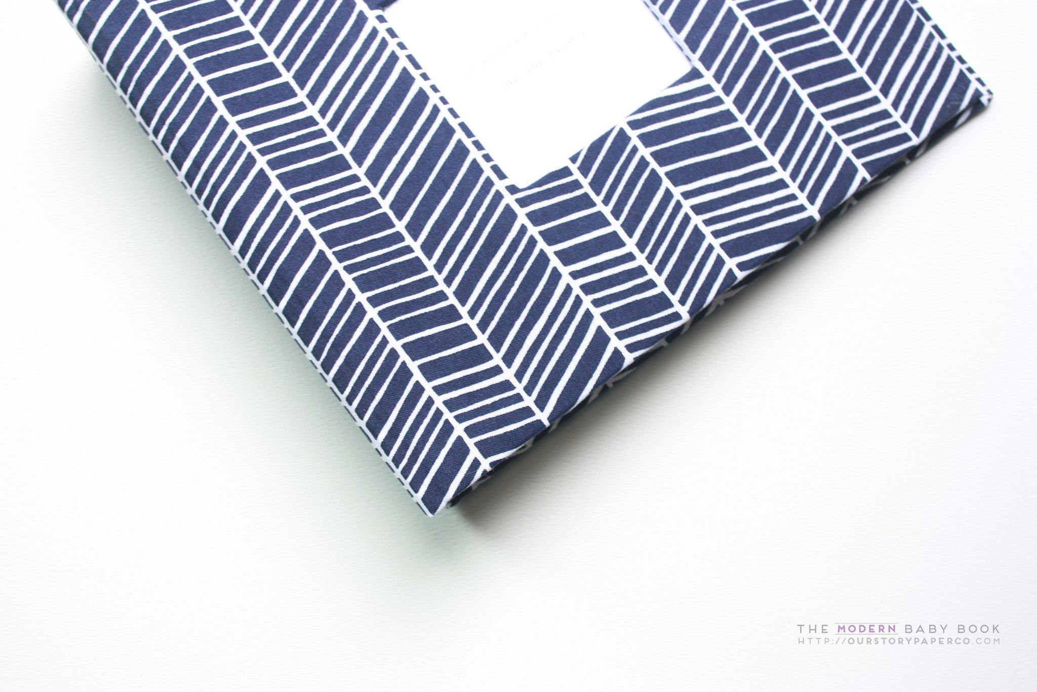 Navy Herringbone Modern Baby Book - Our Story Paper Co.