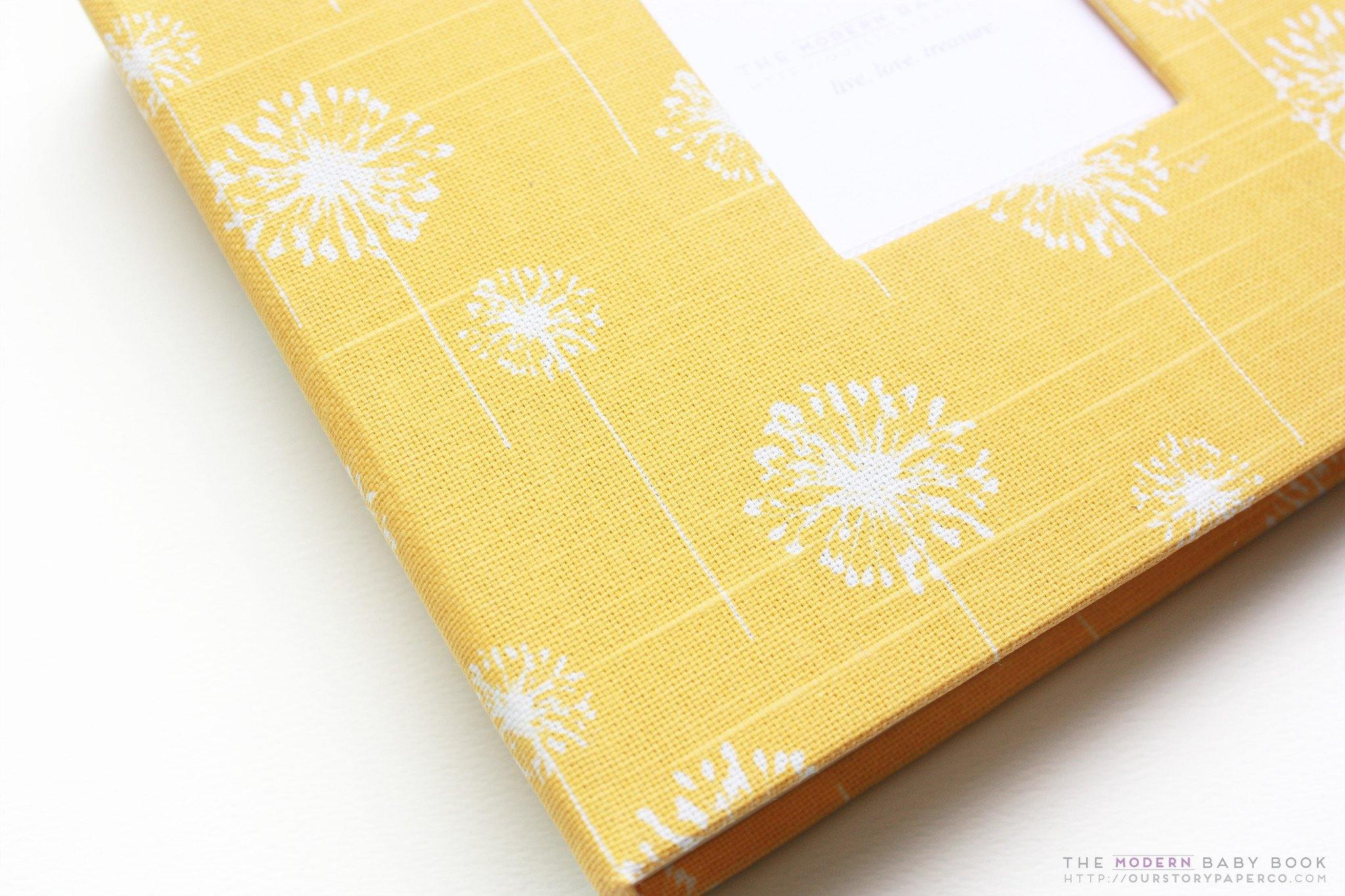 Corn Yellow Dandelion Modern Baby Book - Our Story Paper Co.