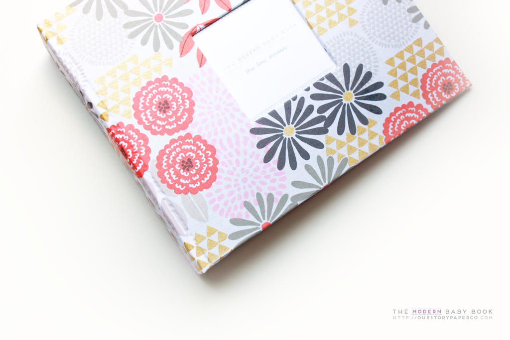 Glitz Garden Grey Modern Baby Book - Our Story Paper Co.