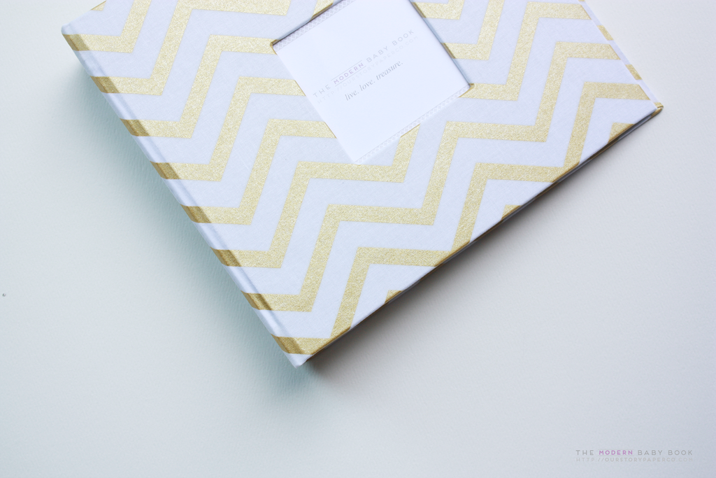 New* Gold Chevron Modern Baby Book - Our Story Paper Co.