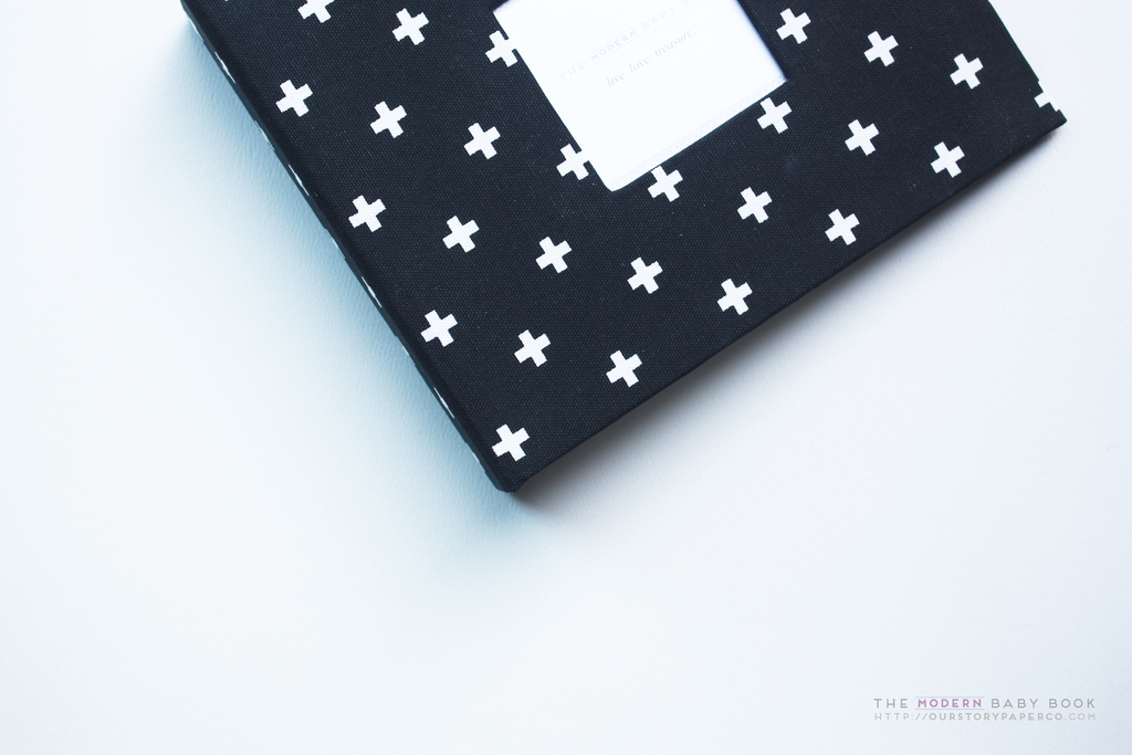 Black and White Mini Crosses Modern Baby Book - Our Story Paper Co.