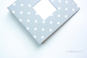 New* Grey and White Mini Crosses Modern Baby Book - Our Story Paper Co.