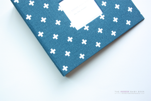 Navy and White Mini Crosses Modern Baby Book - Our Story Paper Co.