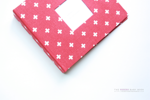 Red and White Mini Crosses Modern Baby Book - Our Story Paper Co.