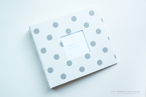 Grey on White Polka Dot Modern Baby Book - Our Story Paper Co.