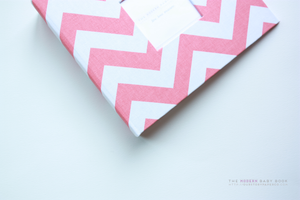 Coral Chevron Modern Baby Book - Our Story Paper Co.