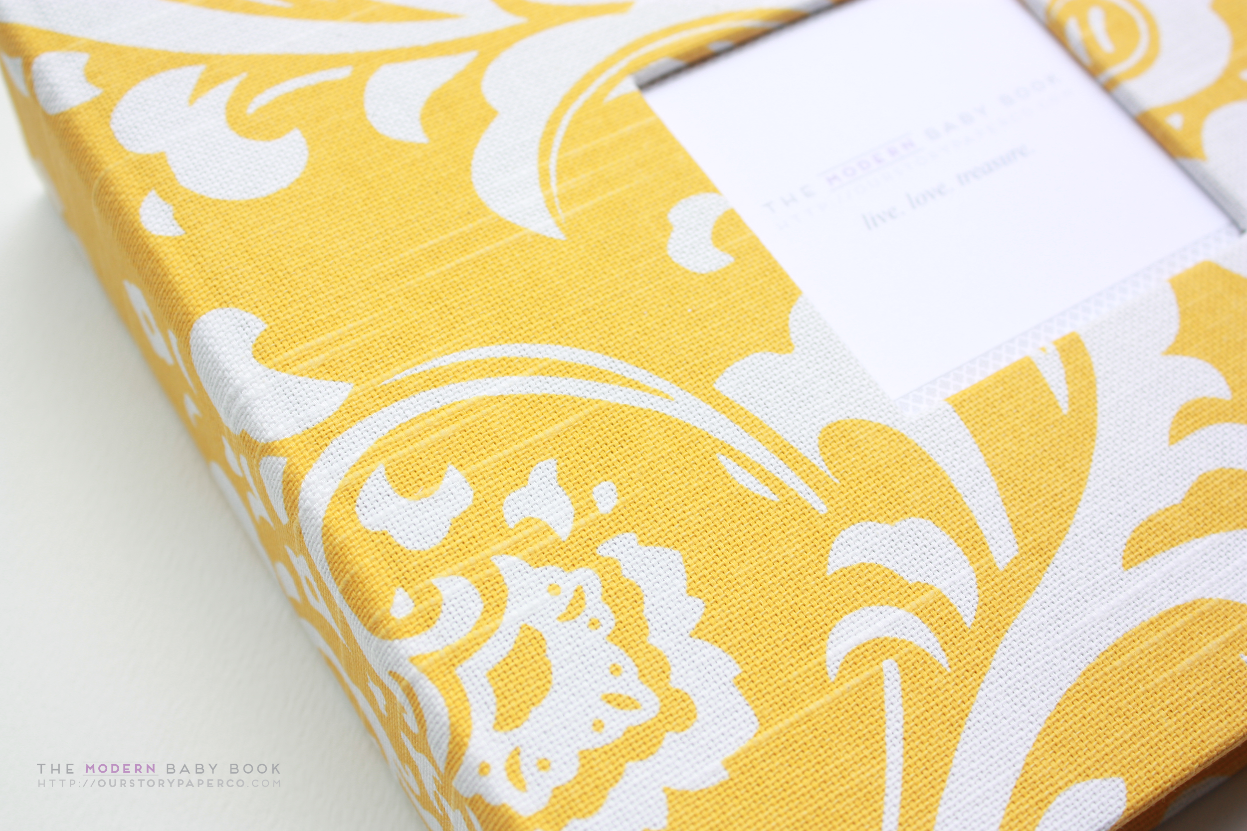 Yellow Damask Modern Baby Book - Our Story Paper Co.